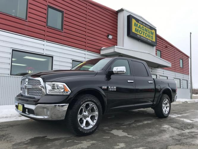 2017 Gray /Black RAM 1500 Laramie Crew Cab SWB 4WD (1C6RR7NT9HS) with an 5.7L V8 OHV 16V engine, 8A transmission, located at 1960 Industrial Drive, Wasilla, AK, 99654, (907) 376-5555, 61.573475, -149.400146 - Photo #0