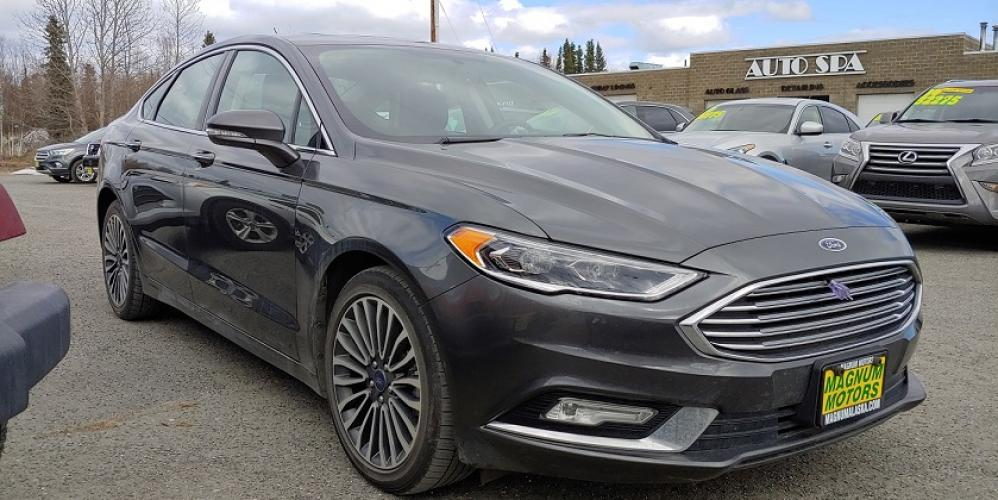 2018 Gray /Black Leather Ford Fusion Titanium AWD (3FA6P0D92JR) with an 2.0L L4 DOHC 16V engine, 6A transmission, located at 44152 Sterling Highway, Soldotna, AK, 99669, (907) 262-5555, 60.484917, -151.062408 - Photo #3
