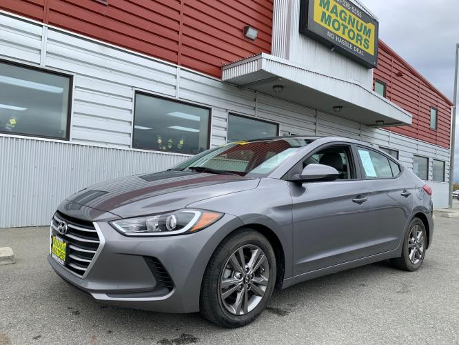 2018 Gray Hyundai Elantra SEL (5NPD84LF0JH) with an 1.8L L4 DOHC 16V engine, 6A transmission, located at 1960 Industrial Drive, Wasilla, AK, 99654, (907) 376-5555, 61.573475, -149.400146 - Photo #0