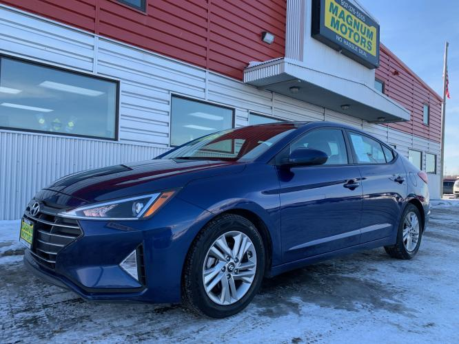2019 Blue /Gray Hyundai Elantra SEL (5NPD84LF0KH) with an 1.8L L4 DOHC 16V engine, 6A transmission, located at 44152 Sterling Highway, Soldotna, AK, 99669, (907) 262-5555, 60.484917, -151.062408 - Photo #0