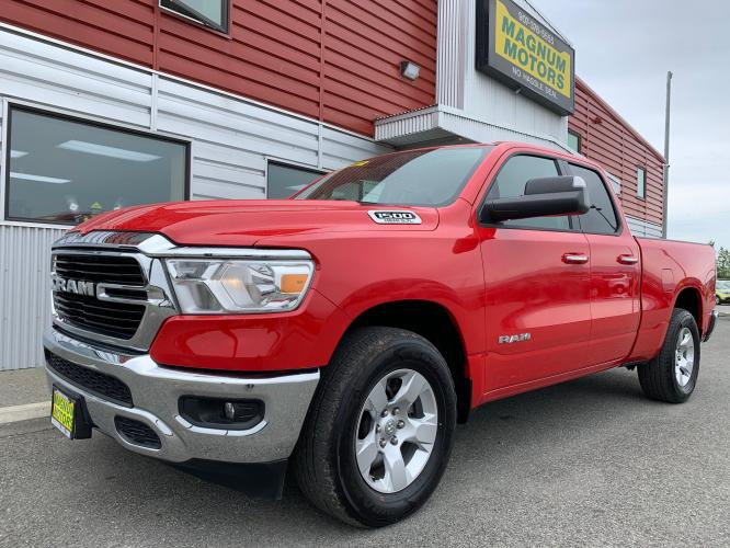 2019 Red /Gray RAM 1500 Big Horn Quad Cab 4WD (1C6SRFBT4KN) with an 3.6L V6 FFV engine, 8A transmission, located at 1960 Industrial Drive, Wasilla, AK, 99654, (907) 376-5555, 61.573475, -149.400146 - Photo #0