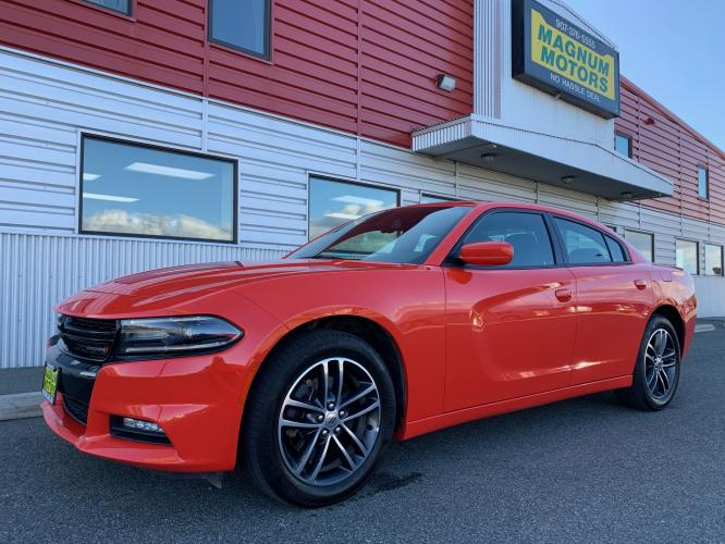 2019 Orange /Black Dodge Charger GT AWD (2C3CDXJG8KH) with an 3.6L V6 DOHC 24V engine, 8A transmission, located at 1960 Industrial Drive, Wasilla, AK, 99654, (907) 376-5555, 61.573475, -149.400146 - Photo #0