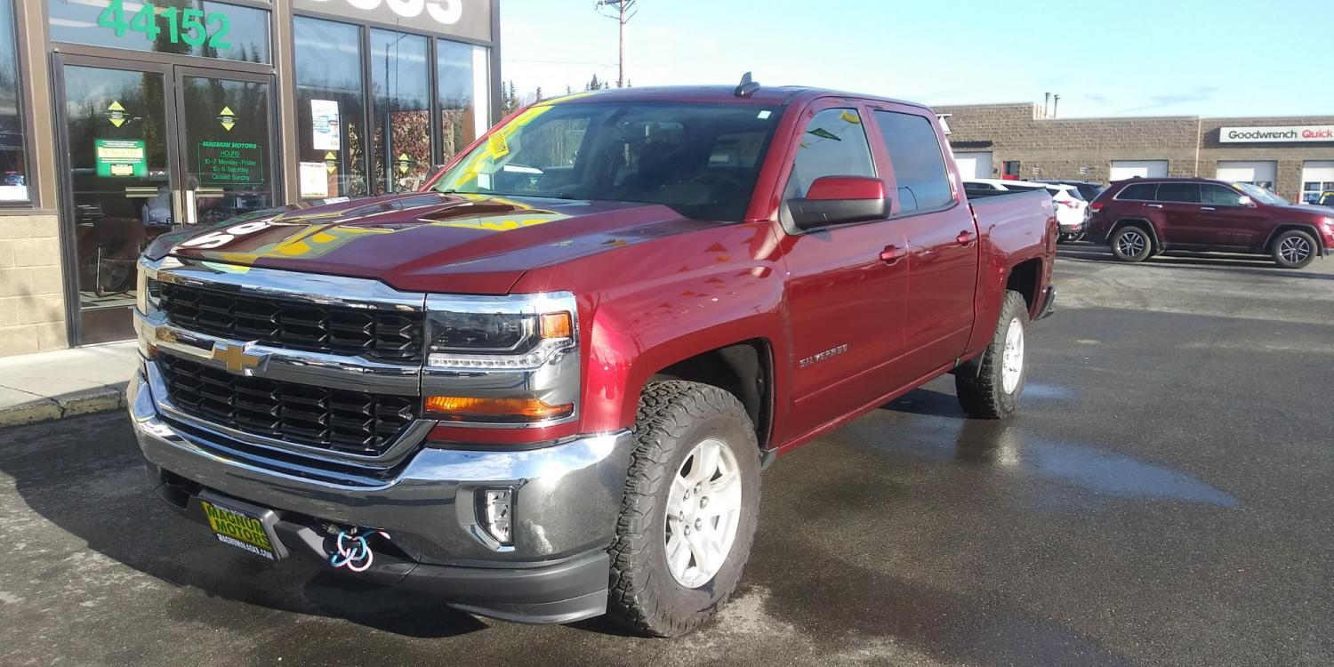 2017 Burgundy Chevrolet Silverado 1500 LT Crew Cab 4WD (3GCUKREC5HG) with an 5.3L V8 OHV 16V engine, 6A transmission, located at 44152 Sterling Highway, Soldotna, 99669, (907) 262-5555, 60.484917, -151.062408 - Photo #0