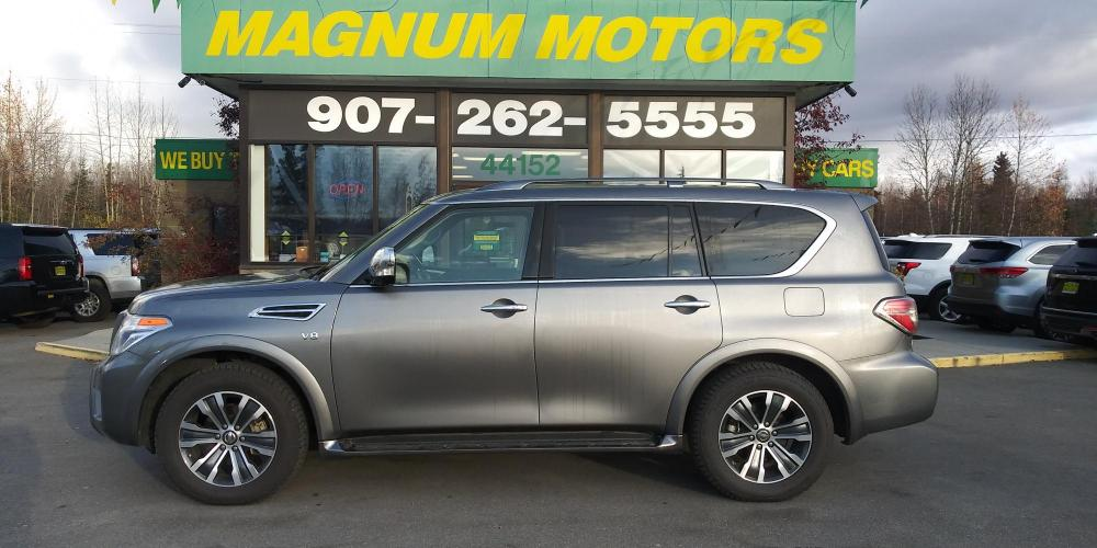 2019 Gray Nissan Armada SL AWD (JN8AY2NC4KX) with an 5.6L V8 DOHC 32V engine, 7A transmission, located at 44152 Sterling Highway, Soldotna, AK, 99669, (907) 262-5555, 60.484917, -151.062408 - Photo #2