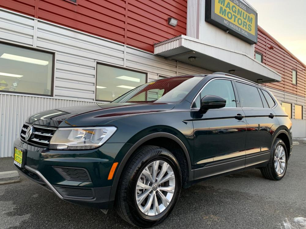 2019 GREEN /Black Volkswagen Tiguan SE 4Motion AWD (3VV2B7AX3KM) with an 2.0L L4 DOHC 16V TURBO engine, 8A transmission, located at 44152 Sterling Highway, Soldotna, 99669, (907) 262-5555, 60.484917, -151.062408 - Photo #0