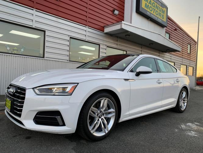 2019 White /Black Audi A5 Premium Sportback quattro (WAUANCF55KA) with an 2.0L L4 DOHC 16V TURBO engine, 7A transmission, located at 1960 Industrial Drive, Wasilla, AK, 99654, (907) 376-5555, 61.573475, -149.400146 - Photo #0