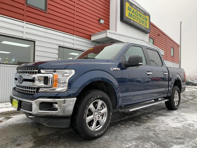 2019 Blue /Gray Ford F-150 Lariat SuperCrew 5.5-ft. Bed 4WD (1FTEW1E55KK) with an 5.0L V8 OHV 32V engine, 6A transmission, located at 1960 Industrial Drive, Wasilla, AK, 99654, (907) 376-5555, 61.573475, -149.400146 - Photo #0