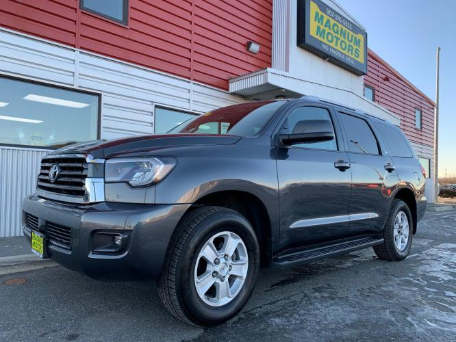 2019 Gray /Gray Toyota Sequoia SR5 5.7L 4WD (5TDBY5G12KS) with an 5.7L V8 DOHC 32V engine, 6A transmission, located at 1960 Industrial Drive, Wasilla, AK, 99654, (907) 376-5555, 61.573475, -149.400146 - Photo #0