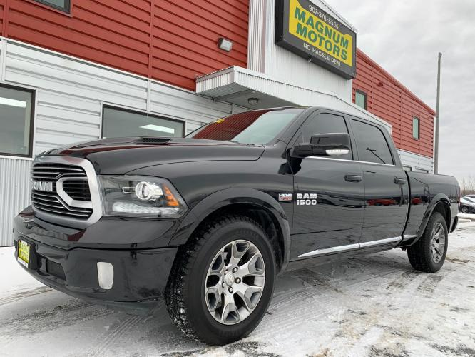 2018 Black /Black RAM 1500 Limited Crew Cab LWB 4WD (1C6RR7WT8JS) with an 5.7L V8 OHV 16V engine, 8A transmission, located at 1960 Industrial Drive, Wasilla, AK, 99654, (907) 376-5555, 61.573475, -149.400146 - Photo #0