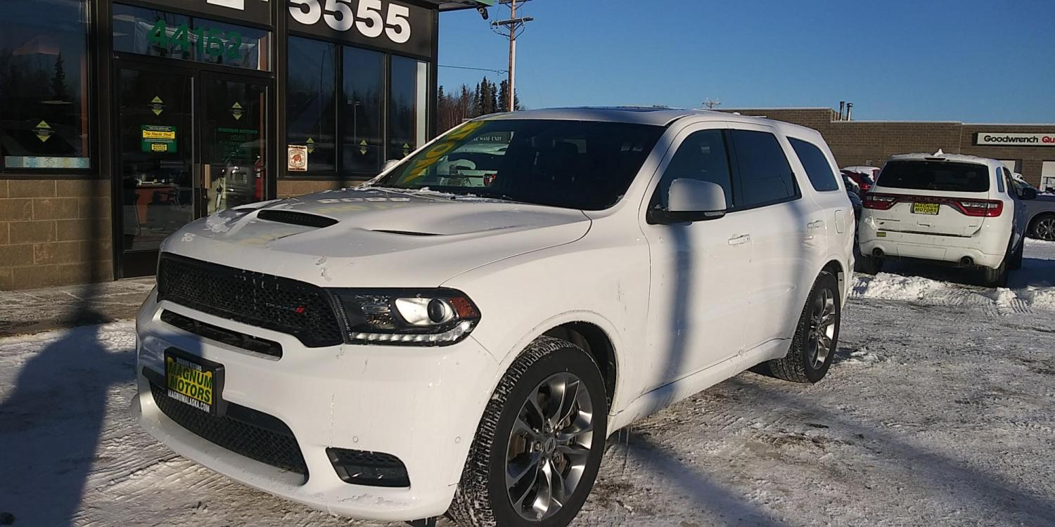 2019 White Dodge Durango R/T AWD (1C4SDJCT9KC) with an 5.7L V8 OHV 16V engine, 8A transmission, located at 44152 Sterling Highway, Soldotna, 99669, (907) 262-5555, 60.484917, -151.062408 - Photo #0