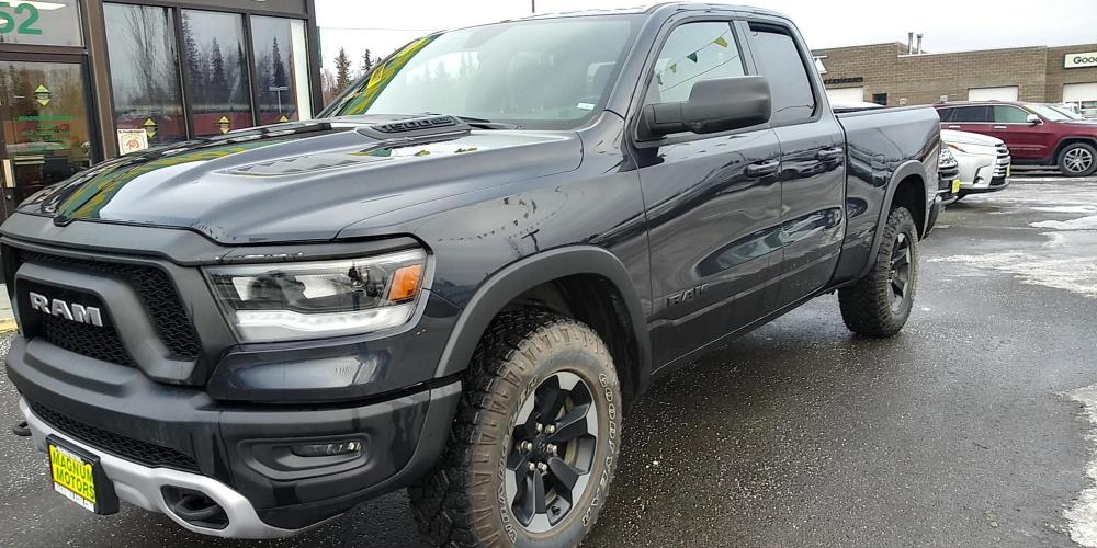 2020 Blue RAM 1500 Rebel Quad Cab 4WD (1C6SRFET2LN) with an 5.7 Hemi FFV engine, 8A transmission, located at 44152 Sterling Highway, Soldotna, AK, 99669, (907) 262-5555, 60.484917, -151.062408 - Photo #0