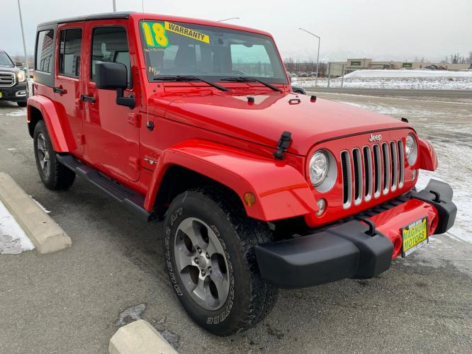 2018 Red /Black Jeep Wrangler Unlimited Sahara 4WD (1C4HJWEG3JL) with an 3.6L V6 DOHC 24V FFV engine, Automatic transmission, located at 44152 Sterling Highway, Soldotna, AK, 99669, (907) 262-5555, 60.484917, -151.062408 - Photo #6