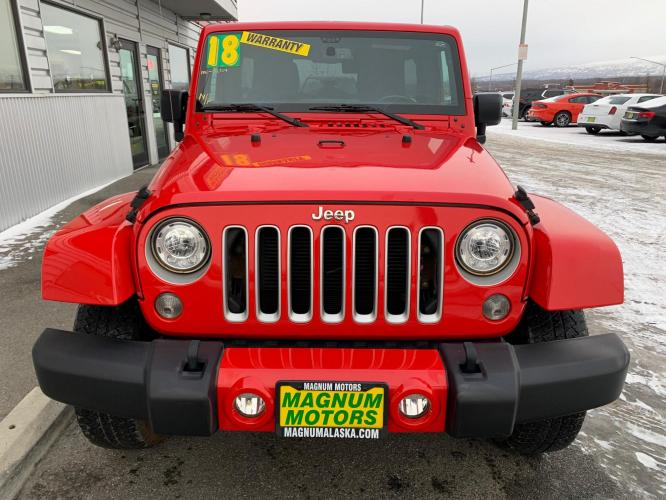 2018 Red /Black Jeep Wrangler Unlimited Sahara 4WD (1C4HJWEG3JL) with an 3.6L V6 DOHC 24V FFV engine, Automatic transmission, located at 44152 Sterling Highway, Soldotna, AK, 99669, (907) 262-5555, 60.484917, -151.062408 - Photo #7