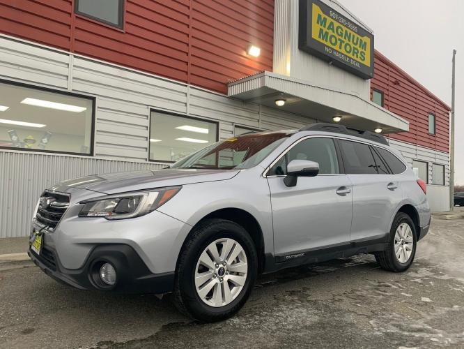 2018 Silver /Black Subaru Outback 2.5i Premium (4S4BSAFC7J3) with an 2.5L H4 DOHC 16V engine, CVT transmission, located at 1960 Industrial Drive, Wasilla, AK, 99654, (907) 376-5555, 61.573475, -149.400146 - Photo #0