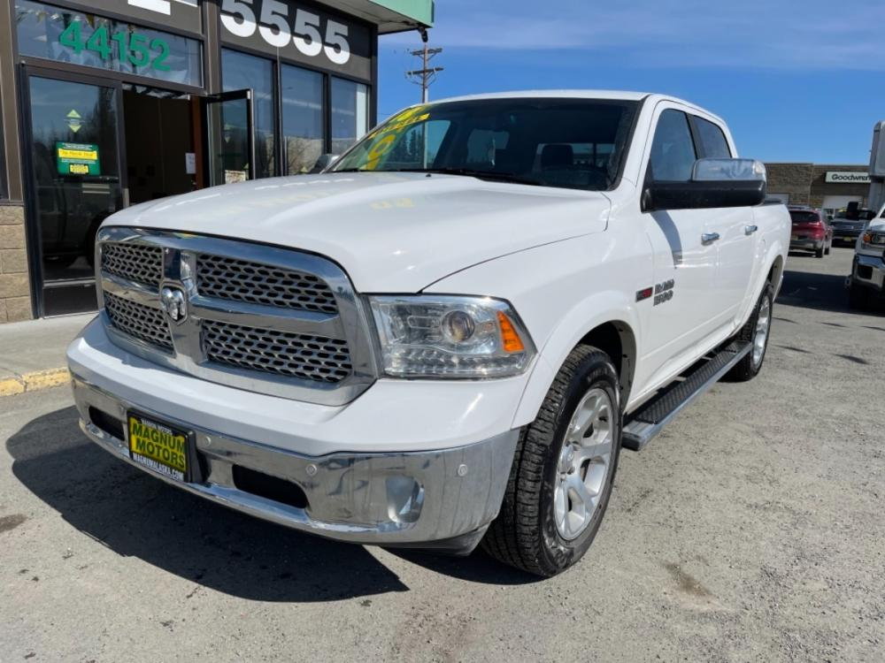 2018 White RAM 1500 Laramie Crew Cab SWB 4WD (1C6RR7NM3JS) with an 3.0L V6 DIESEL engine, 8A transmission, located at 44152 Sterling Highway, Soldotna, 99669, (907) 262-5555, 60.484917, -151.062408 - Photo #0
