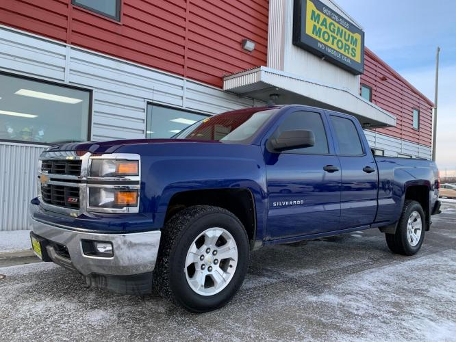 2014 Blue /Black Chevrolet Silverado 1500 1LT Double Cab 4WD (1GCVKREC9EZ) with an 5.3L V8 OHV 16V engine, 6-Speed Automatic transmission, located at 1960 Industrial Drive, Wasilla, AK, 99654, (907) 376-5555, 61.573475, -149.400146 - Photo #0