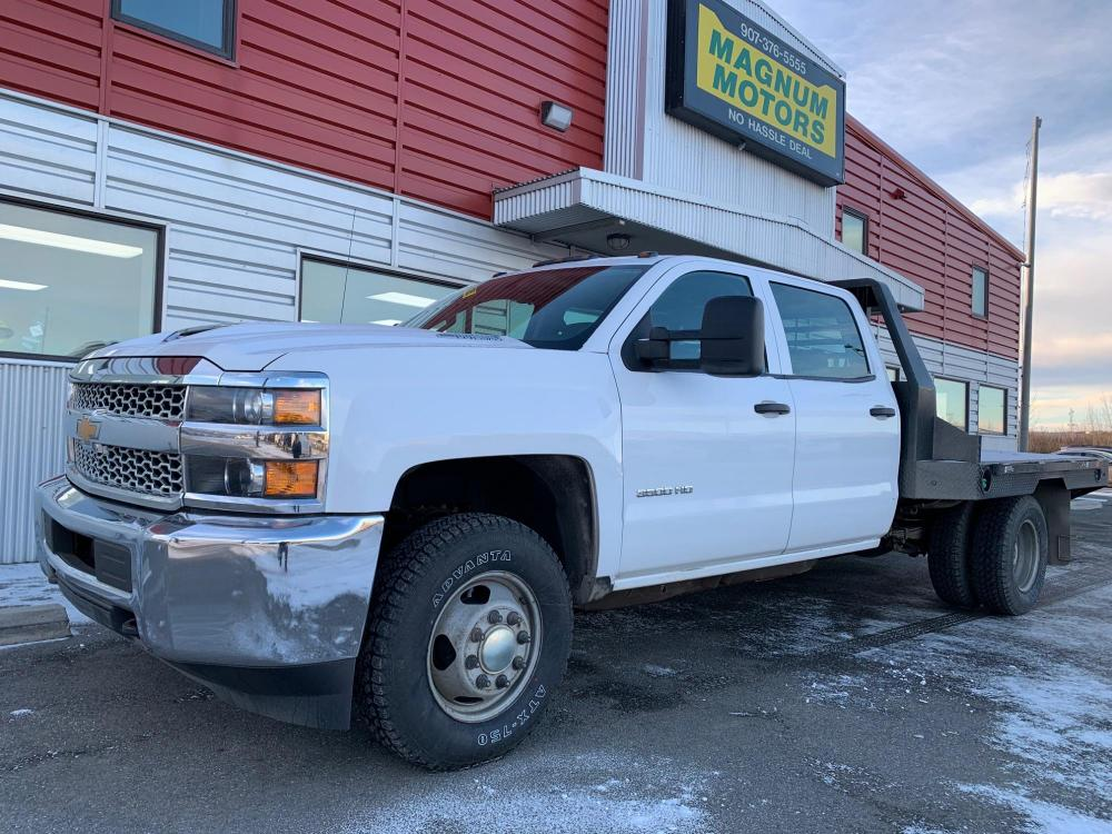 2019 White /Gray Chevrolet Silverado 3500HD Work Truck Crew Cab 4WD (1GB4KVCY7KF) with an 6.6L V8 OHV 32V TURBO DIESEL engine, 6A transmission, located at 44152 Sterling Highway, Soldotna, 99669, (907) 262-5555, 60.484917, -151.062408 - Photo #0