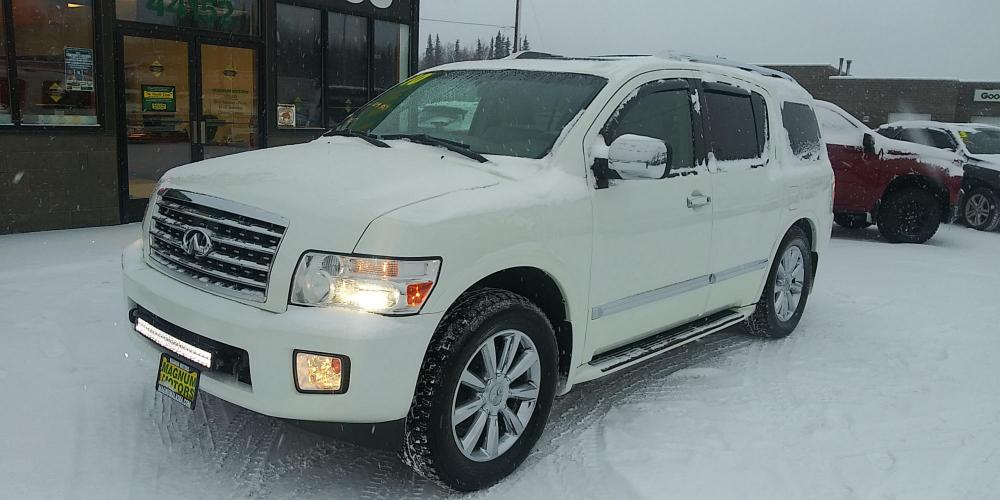2010 White /GRAY Infiniti QX56 AWD (5N3ZA0NE8AN) with an 5.6L V8 DOHC 32V engine, 5-Speed Automatic transmission, located at 44152 Sterling Highway, Soldotna, AK, 99669, (907) 262-5555, 60.484917, -151.062408 - Photo #0