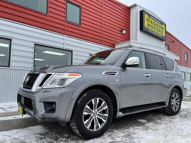 2019 Gray /Black Nissan Armada SL AWD (JN8AY2NCXK9) with an 5.6L V8 DOHC 32V engine, 7A transmission, located at 1960 Industrial Drive, Wasilla, AK, 99654, (907) 376-5555, 61.573475, -149.400146 - Photo #0