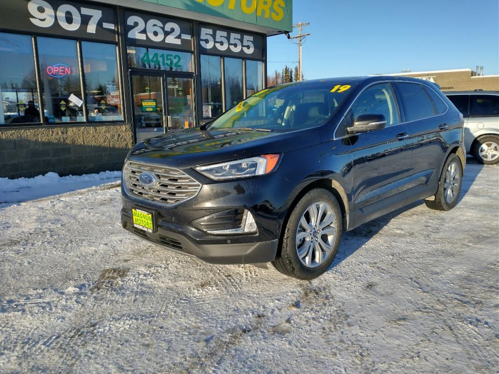 2019 Black Ford Edge Titanium AWD (2FMPK4K95KB) with an 2.0L L4 DOHC 16V engine, 6A transmission, located at 44152 Sterling Highway, Soldotna, 99669, (907) 262-5555, 60.484917, -151.062408 - Photo #0