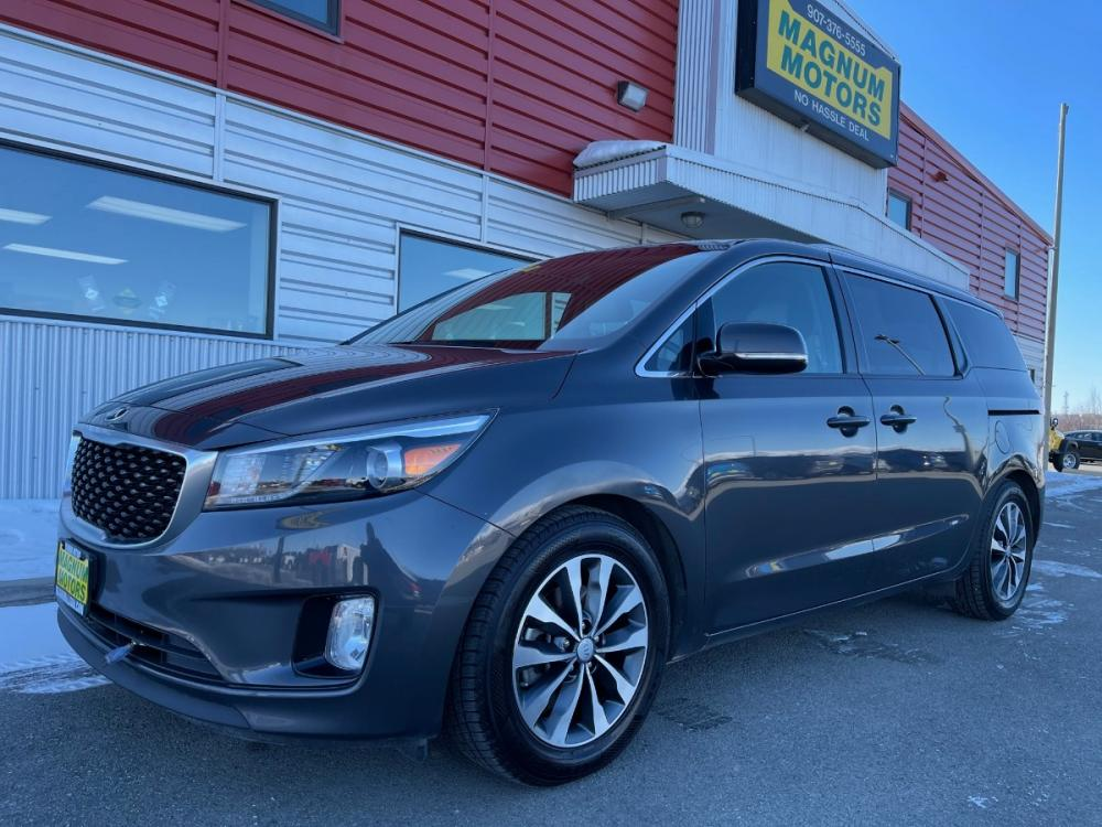 2016 Gray /Gray Kia Sedona EX (KNDMC5C10G6) with an 3.3L V6 DOHC 24V engine, 6-Speed Automatic transmission, located at 1960 Industrial Drive, Wasilla, AK, 99654, (907) 376-5555, 61.573475, -149.400146 - Photo #0