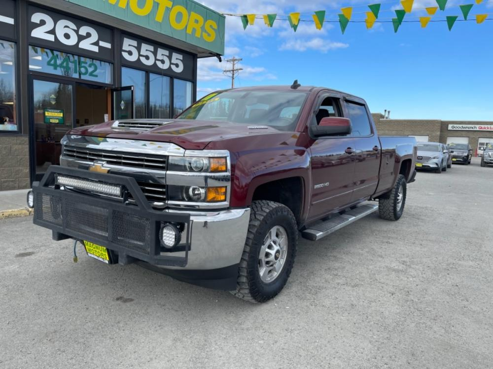 2017 Burgundy Chevrolet Silverado 2500HD LT Crew Cab Long Box 4WD (1GC1KVEY0HF) with an 6.6L V8 OHV 32V TURBO DIESEL engine, 6A transmission, located at 44152 Sterling Highway, Soldotna, 99669, (907) 262-5555, 60.484917, -151.062408 - Photo #0