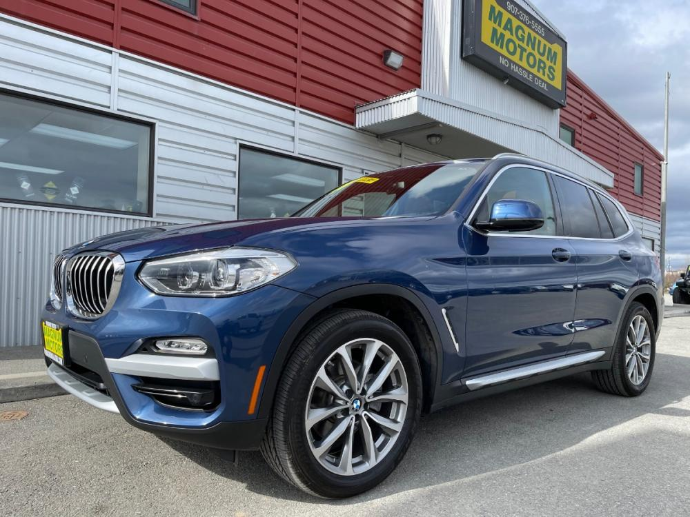 2019 Blue /Brown BMW X3 xDrive30i (5UXTR9C56KL) with an 2.0L L4 DOHC 16V engine, 8A transmission, located at 1960 Industrial Drive, Wasilla, AK, 99654, (907) 376-5555, 61.573475, -149.400146 - Photo #0