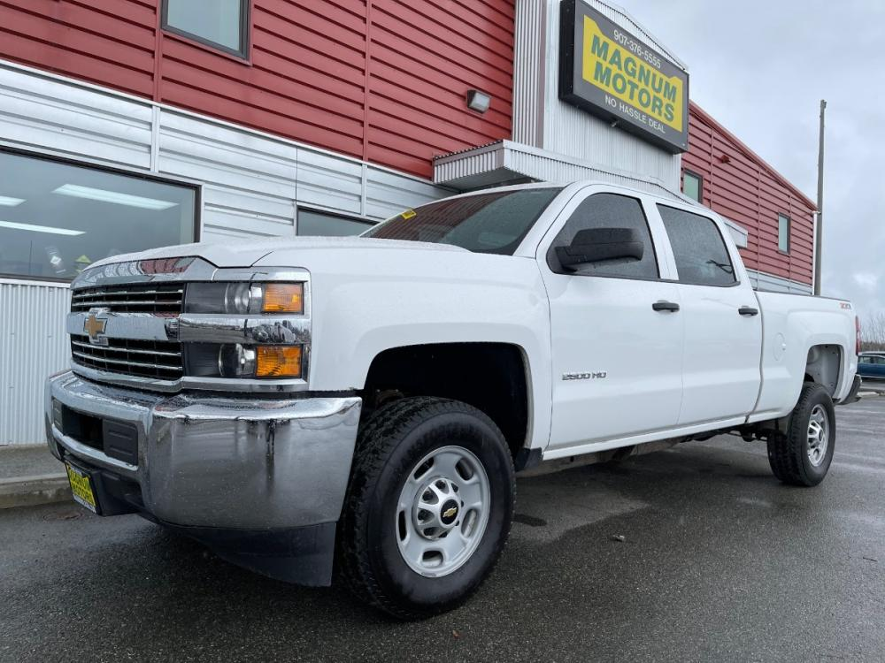2015 White /Gray Chevrolet Silverado 2500HD Work Truck Crew Cab 4WD (1GC1KUEGXFF) with an 6.0L V8 OHV 16V FFV engine, 6-Speed Automatic transmission, located at 1960 Industrial Drive, Wasilla, AK, 99654, (907) 376-5555, 61.573475, -149.400146 - Photo #0